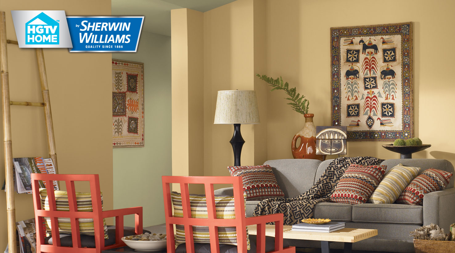 Pumpkin Spice Paint Living Room Hgtv Home By Sherwin Williams Global Spice Wallpaper Collection