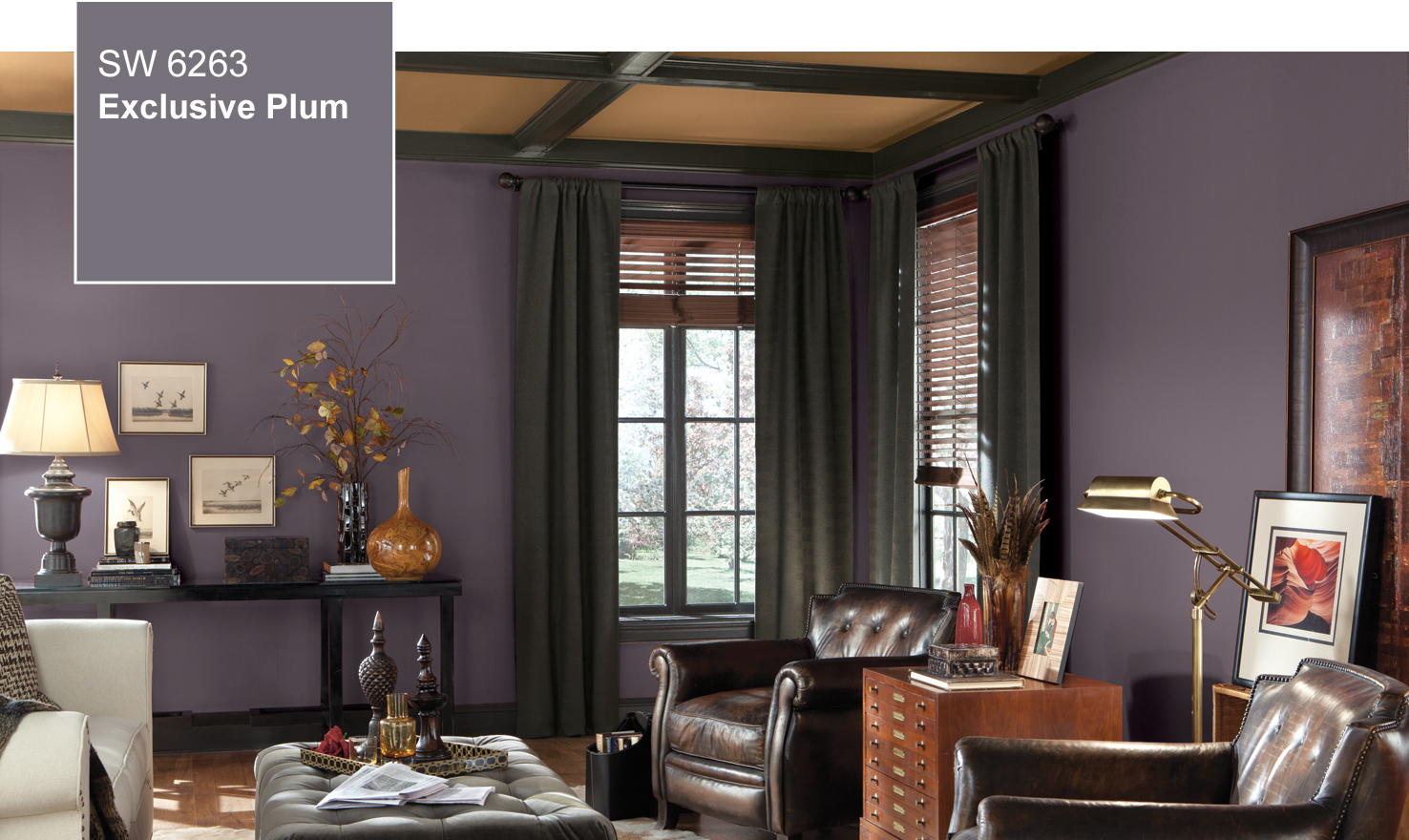 2014 color of the year exclusive plum sw 6263 by - Living room paint colors for 2014 ...