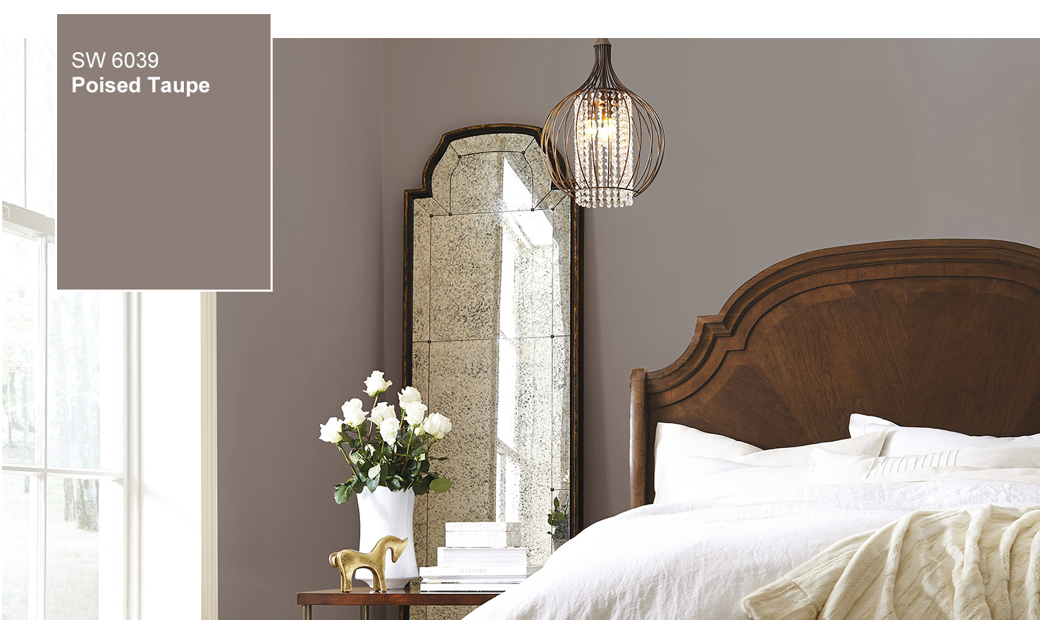 Introducing the 2017 color of the year poised taupe sw 6039 for Bedroom paint colors 2018
