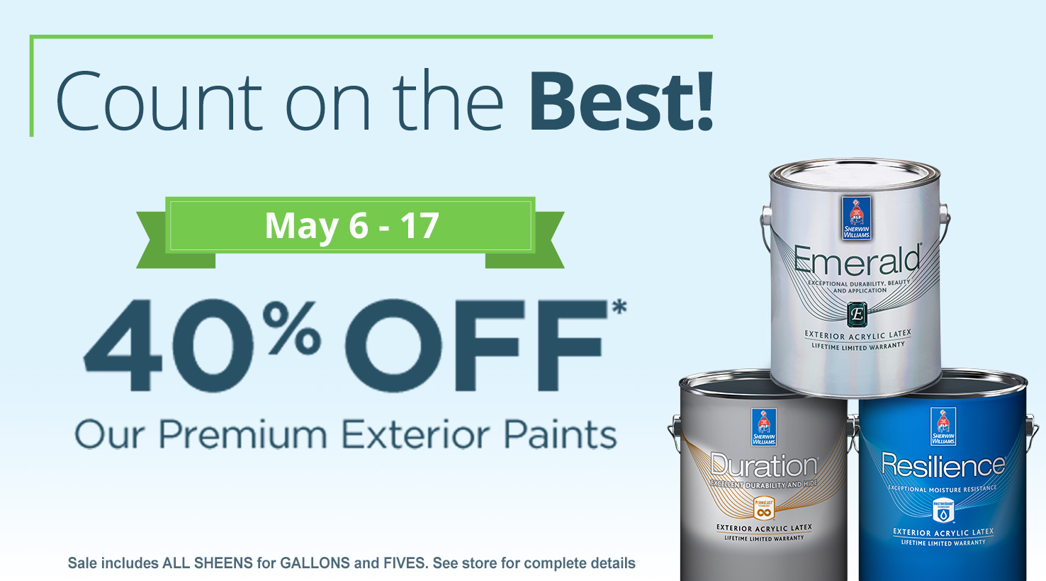 Count On The Best Sale May 6 17 Sherwin Williams
