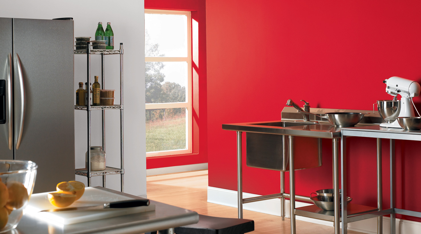 Red Colour Wall: Kitchen Color Inspiration Gallery
