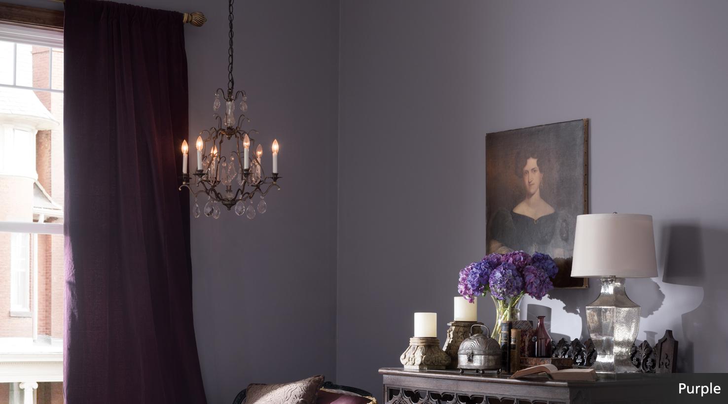 Purple postcard room scene