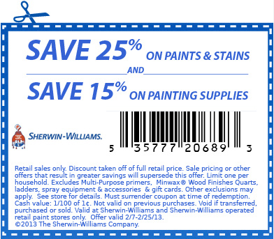 In store: Sherwin Williams Coupons for get $10 off your purchase of $50 or more. See Sherwin Williams Coupons for more details. 40%% Off Sherwin Williams Coupons (September) In store: Sherwin Williams Coupons for get 40% off paints & stains, 30% off painting supplies, 25% off custom order wallpaper. See Sherwin Williams Coupons for.