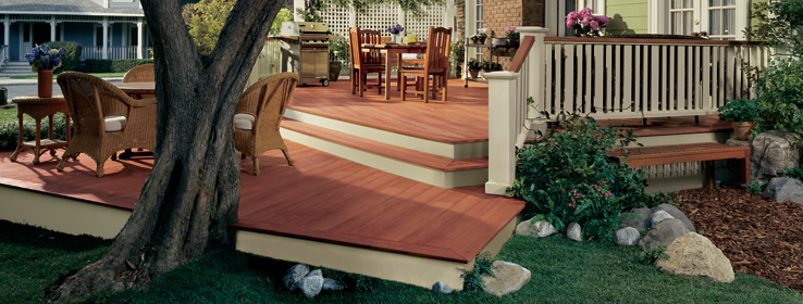 How to stain a deck tips from sherwin williams for Painted deck pictures